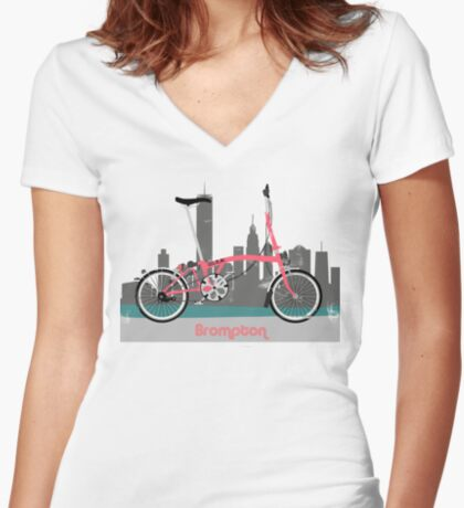 Brompton City Bike Women's Fitted V-Neck T-Shirt
