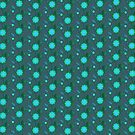 Turquoise&blue retro floral stripes by CatchyLittleArt