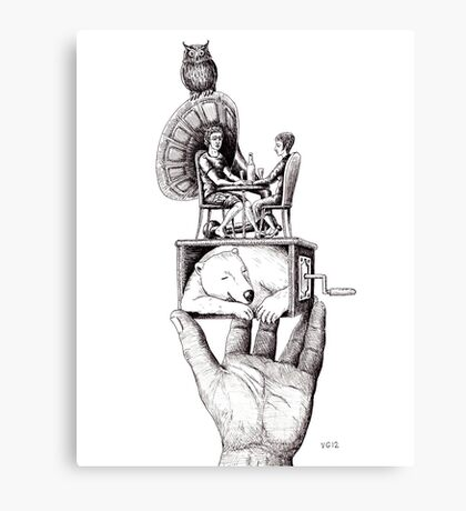 Balance of Love surreal pen ink black and white drawing Canvas Print