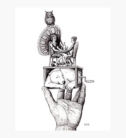 Balance of Love surreal pen ink black and white drawing Photographic Print