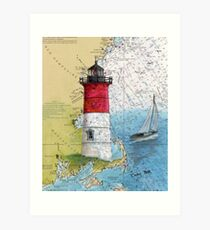 Nauset Beach Lighthouse MA Cape Cod Map Cathy Peek Art Print