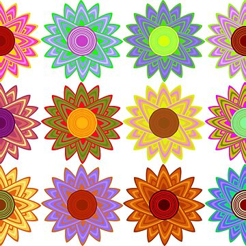 Sunflower variations sticker sheet by Lenka24