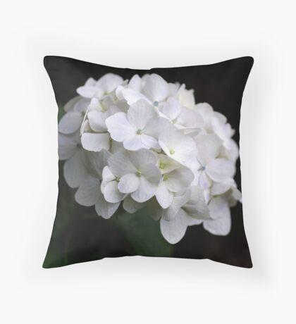 White Hydranga Throw Pillow