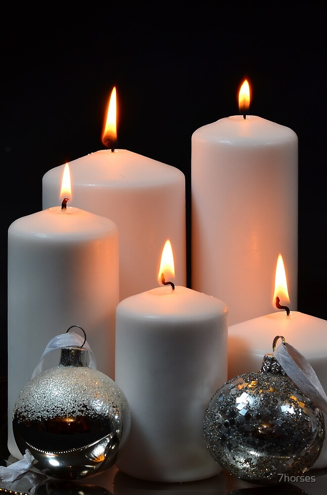 White candles with silver Christmas balls by 7horses