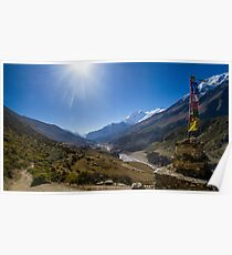 Tibetan Prayer Flags Over a Himalayan Valley Poster