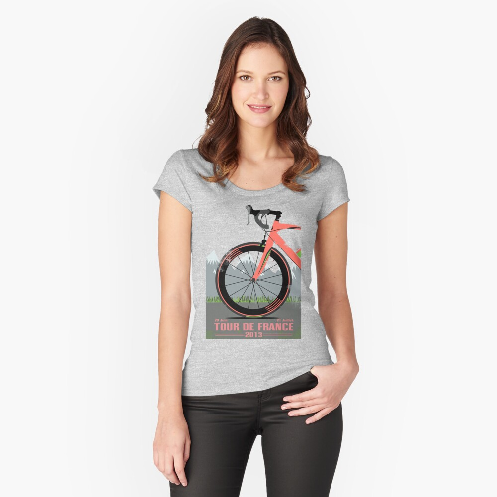 Tour De France Bike Tailliertes Rundhals-Shirt