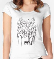 Snow and Ghost Amongst Crows Women's Fitted Scoop T-Shirt
