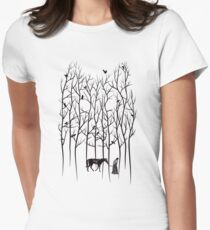 Snow and Ghost Amongst Crows Women's Fitted T-Shirt
