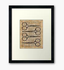 Hairdresser's Scissors Vintage Illustration Dictionary Art Framed Print