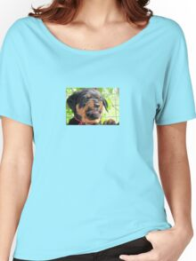 Funny Grumpy Faced Rottweiler Puppy  Women's Relaxed Fit T-Shirt