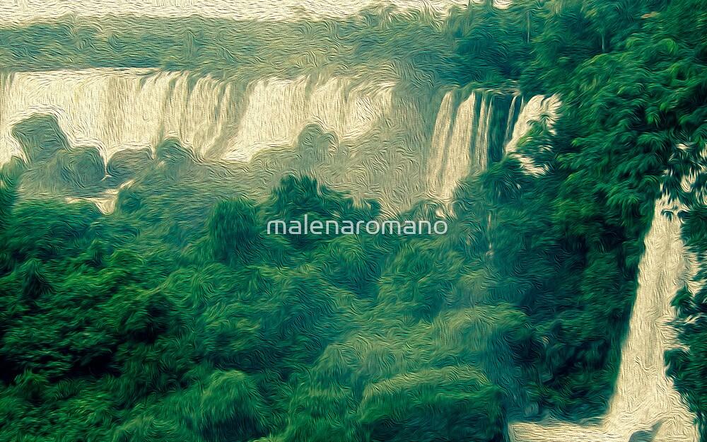 Iguassu waterfalls in oil paint look  by malenaromano