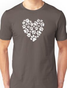 Dog Paw Prints Heart Unisex T-Shirt