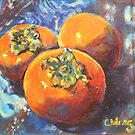 Persimmons on batik by christine purtle