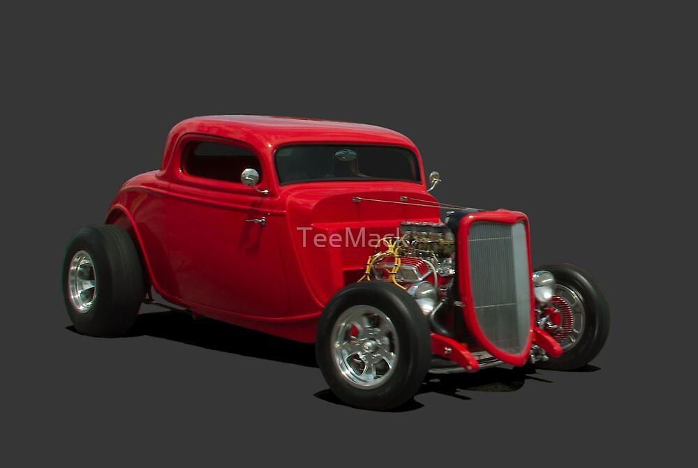 1934 Ford Three Window Custom Coupe Hot Rod by TeeMack
