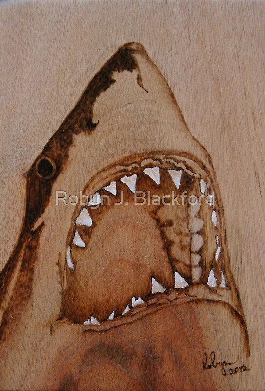 Quot Pyrography Shark S Teeth Quot By Aussiebushstick Redbubble