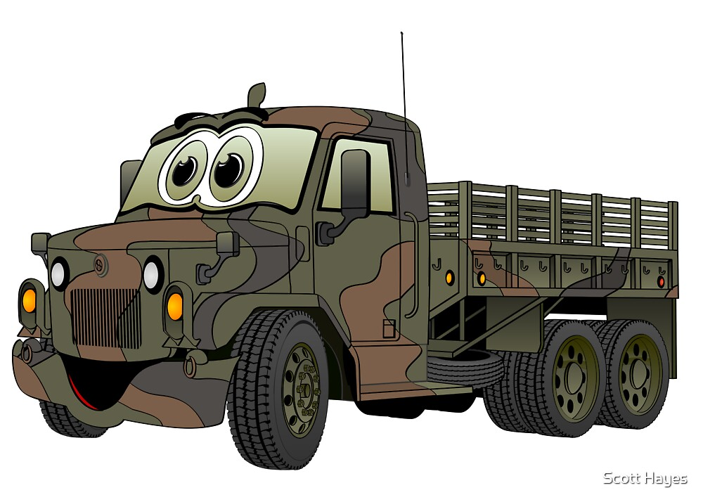 Military Stake Truck Cartoon by Graphxpro