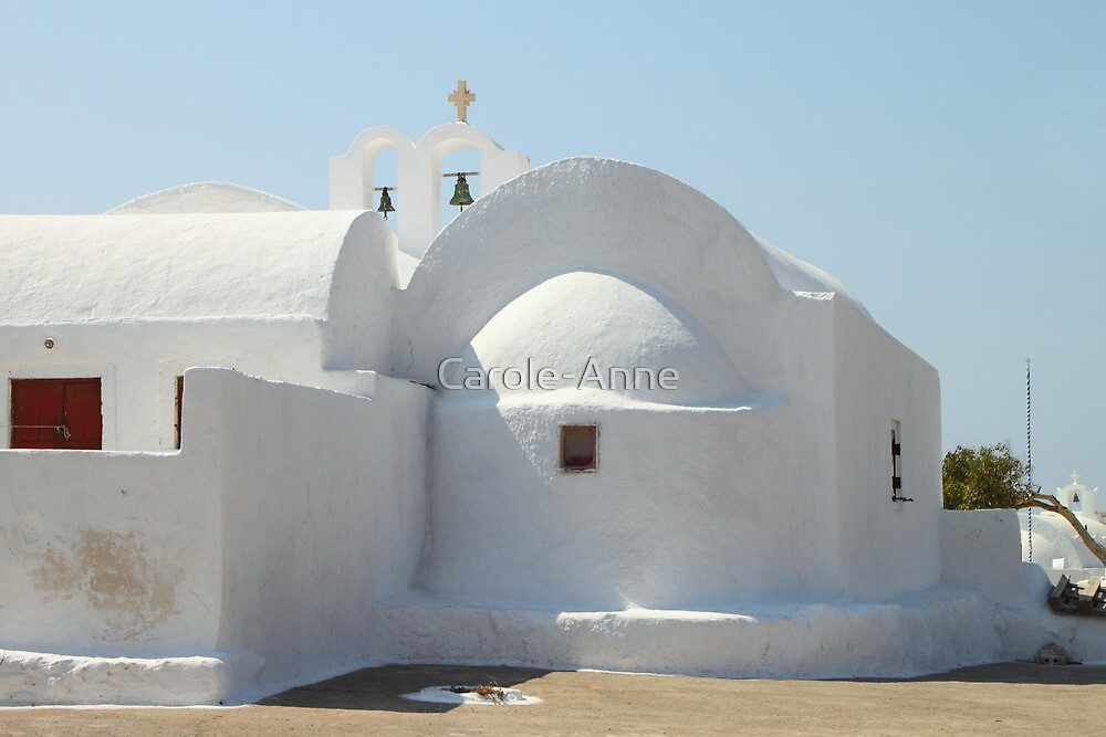 White Sculptural Church, Oia, Santorini by Carole-Anne