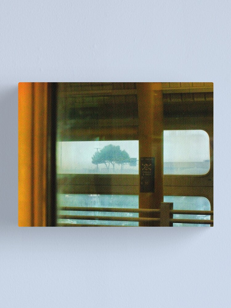 Alternate view of In train, tree in rain Canvas Print