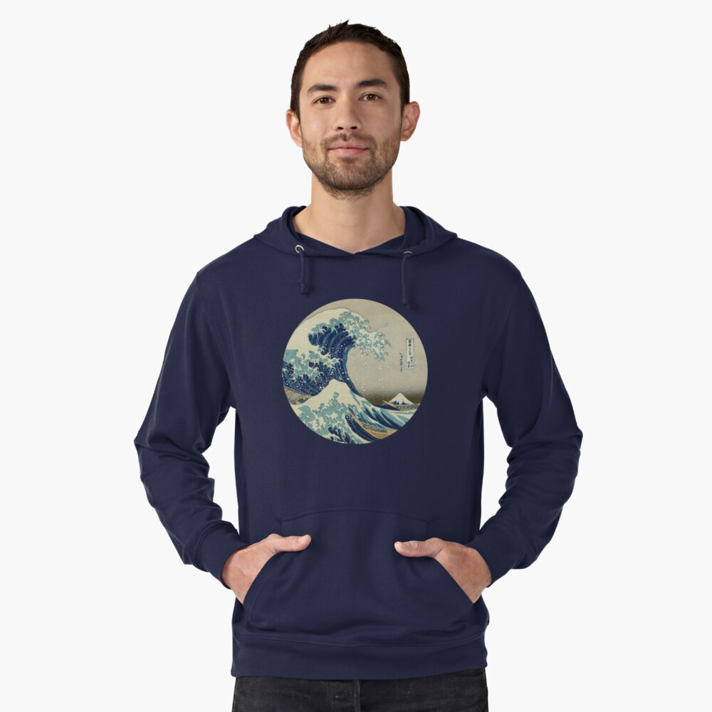 Great Wave off Kanagawa circle Lightweight Hoodie Front