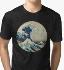 Great Wave off Kanagawa circle Tri-blend T-Shirt
