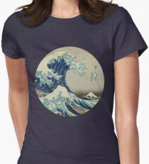 Great Wave off Kanagawa circle Women's Fitted T-Shirt