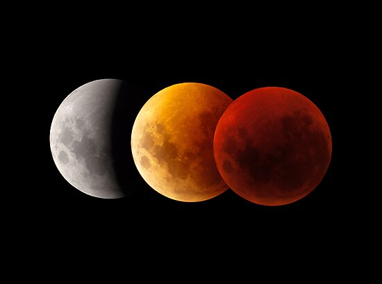 Lunar Eclipse - Three Moons by Phil Hart