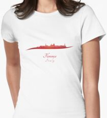 Florence skyline in red Womens Fitted T-Shirt