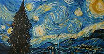 After Van Gogh Starry Night - Christmas card by Carole Russell