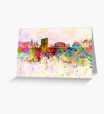 Geneva skyline in watercolor background Greeting Card