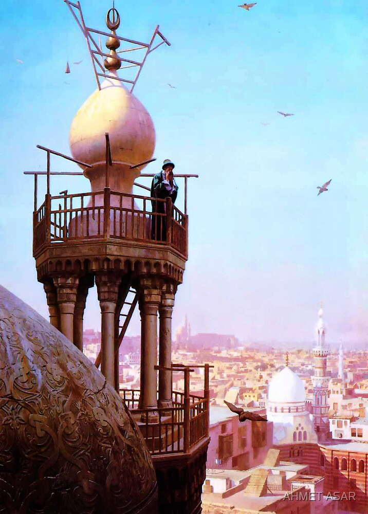 a muezzin calling from the top of a minaret the faithful to prayer by MotionAge Media