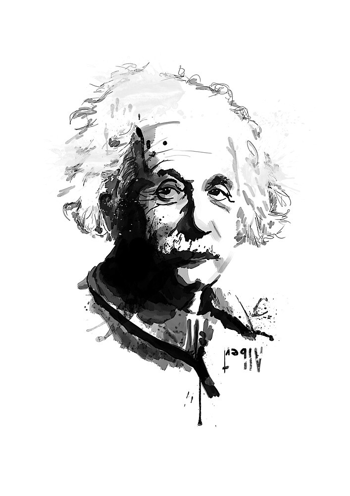 Albert Einstein Portrait by Apple-Hat