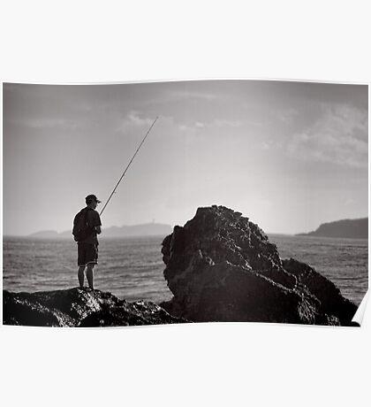 Fishing on the Rocks - Korora - NSW - Australia Poster