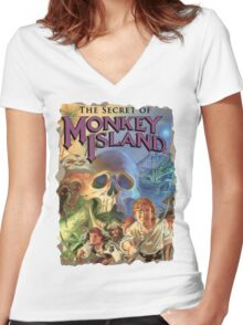 The Secret of Monkey Island Women's Fitted V-Neck T-Shirt