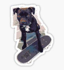 SK8 Staffy Dog Skater colour pic Sticker