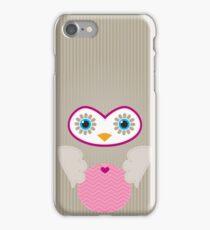 IPhone :: cute owl face - brown / pink iPhone Case/Skin