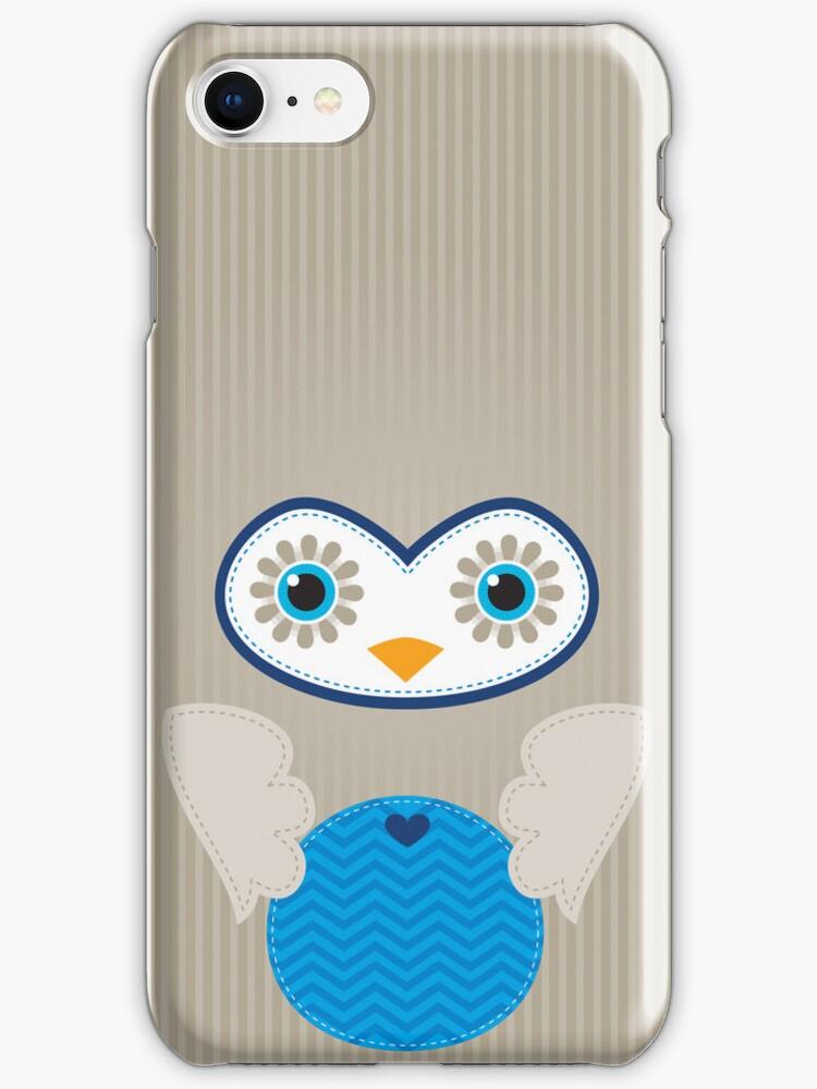 IPhone :: cute owl face - brown / blue by Kat Massard