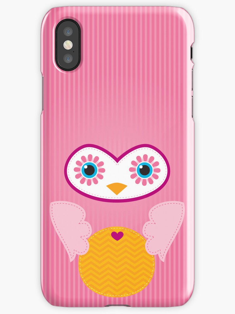 IPhone :: cute owl face - pink by Kat Massard