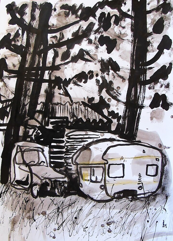 old car and caravan by donna malone