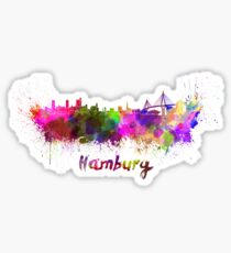 Hamburg skyline in watercolor Sticker