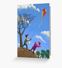 kids flying kite on windy day Greeting Card