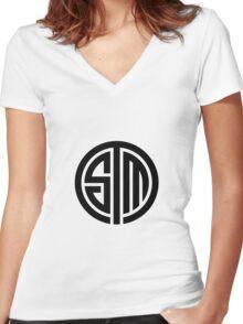 TSM White Logo Women's Fitted V-Neck T-Shirt