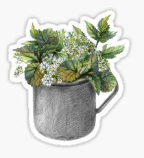 Becher mit grünem Waldwachstum Sticker