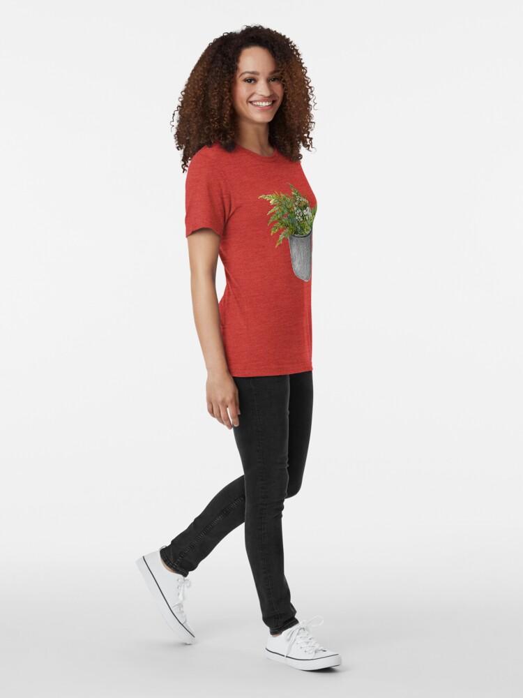 Alternate view of Mug with fern leaves Tri-blend T-Shirt