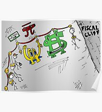 Fiscal cliff Bucky Euroman caricature Poster