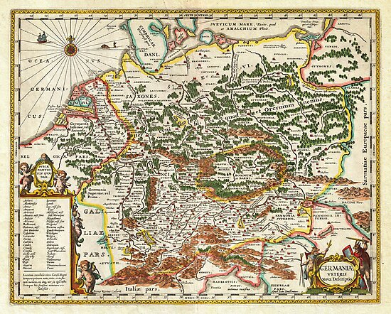 1657 Jansson Map of Germany Germania Geographicus Germaniae jansson 1657 by MotionAge Media
