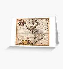 1658 Visscher Map of North America and South America Geographicus America visscher 1658 Greeting Card