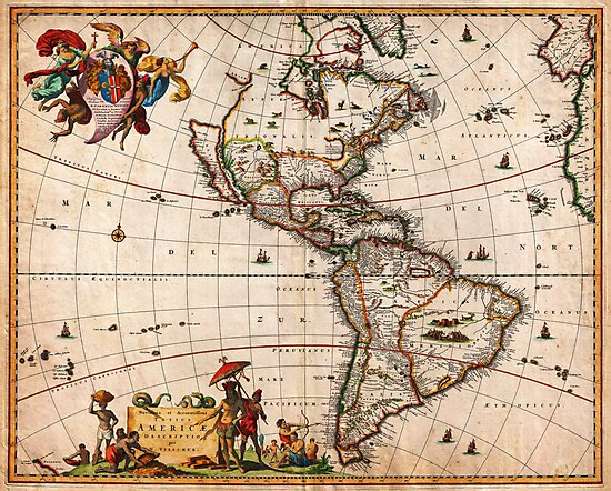 1658 Visscher Map of North America and South America Geographicus America visscher 1658 by MotionAge Media