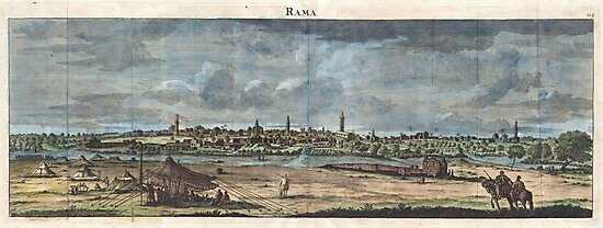 1698 de Bruijin View of Rama Israel (Palestine Holy Land) Geographicus Rama bruijn 1698 by MotionAge Media