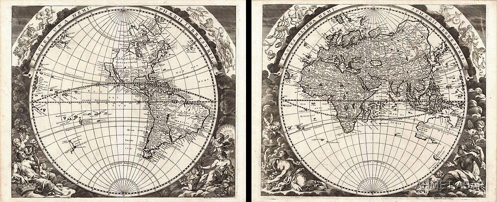 1696 Zahn Map of the World in Two Hemispheres Geographicus World zahn 1696 by MotionAge Media