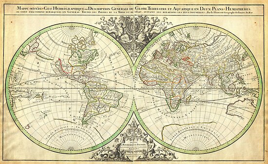 1691 Sanson Map of the World on Hemisphere Projection Geographicus World2 sanson 1691 by MotionAge Media